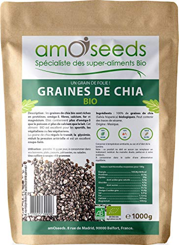 Graines de Chia Bio 1KG | Protéines, Perte de Poids, Digestion, Oméga-3 | Qualité Supérieure