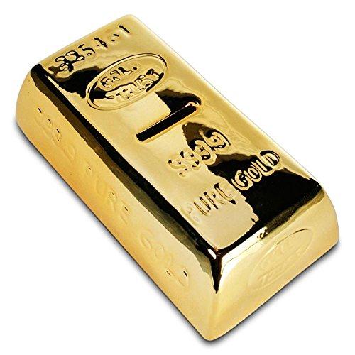 HC-Handel 910653 Spardose Goldbarren 16,5 cm gold