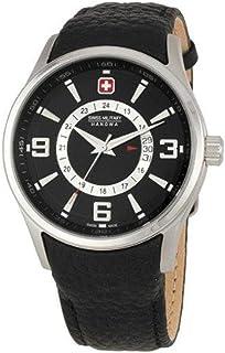Swiss Military - 06-4155 04,007, 44 mm de acero inoxidable de color negro y funda de cuero para hombre reloj de los minerales