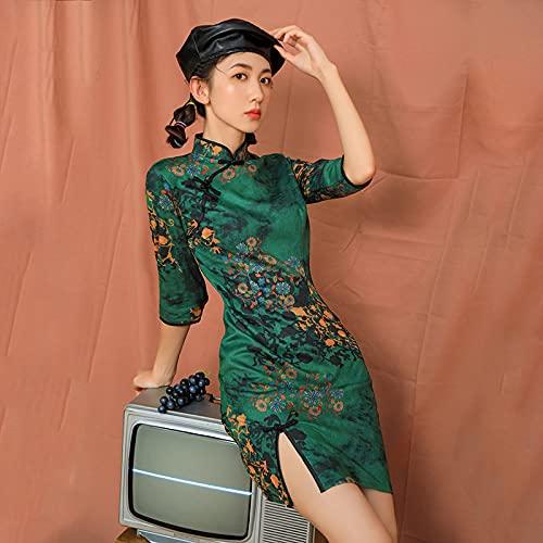 CIDCIJN Vestito Cinese - Lady Chinese Style Cheongsam Dress, Donne retrò Elegante Qipao Abito da Sera Tradizionale Abbigliamento Orientale Party Vintage, Verde,S