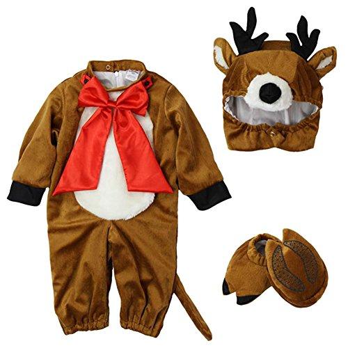LPATTERN Disfraz Animal para Bebé Niños Niñas Traje de Cosplay Pijamas Franela con Capucha Disfraces para Festival de Halloween Navidad Carnaval,Alce,12-18 meses