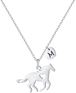 Girls Horse Necklace, Dainty Horse Jewelry for Girls Initial Necklace, Stainless Steel Kids Heart Initial Necklace Horse G...