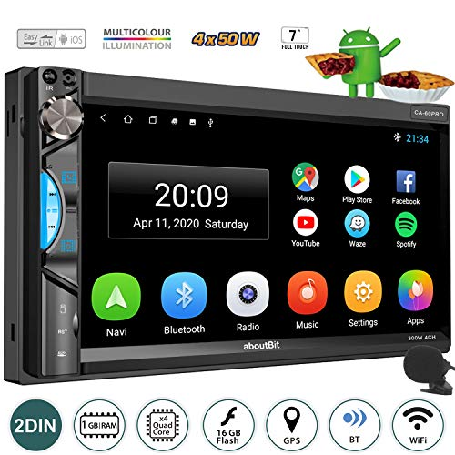 Android 9.0 Multimedia Touch Screen Double DIN Car Navigation Stereo,aboutBit 7 inch Bluetooth Car Radio Head Unit,Support Front&Rear Camera Input/Split Screen/WiFi/Fast Boot/AM&FM Radio,1G/16G