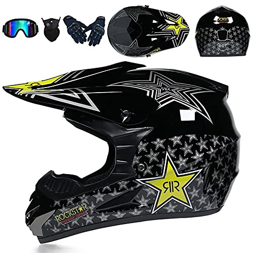Motocross Helmet BMX MX ATV Cross Country Bike Helmet Racing Motorcycle Full Face Helmet DOT/ECE Certified Four Seasons Adult Children Youth Unisex Anti-Collision Helmet 52~59cm