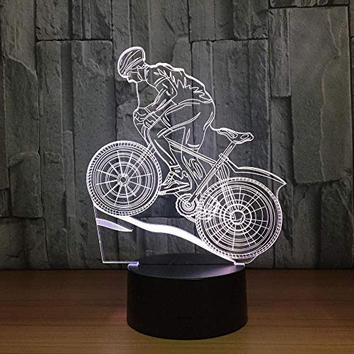 3D Remote Night Light Toy Gifts for Kids Decorative LED Lamp 7 Colors Lamp USB 3D LED Lamp Mountain Bike 3D Night Lights Sleeping Lamp as Home Decoration New Year Gift for Friends XQMYGS