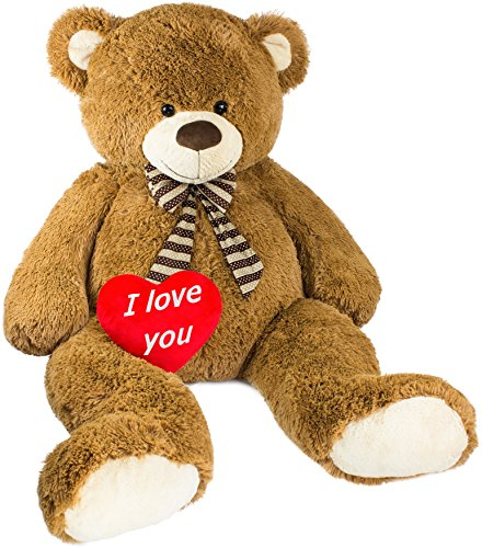 BRUBAKER Peluche Gigante XXL - Oso/Osito de Peluche - 150 cm - Marrón - I Love You corazón de Peluche Incluido