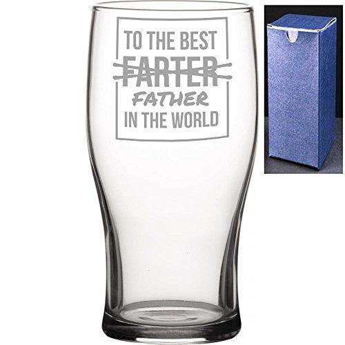 Novelty Gift pinta Tulip vaso de cerveza de sidra | a la mejor papá Farter * * En el mundo Engraved