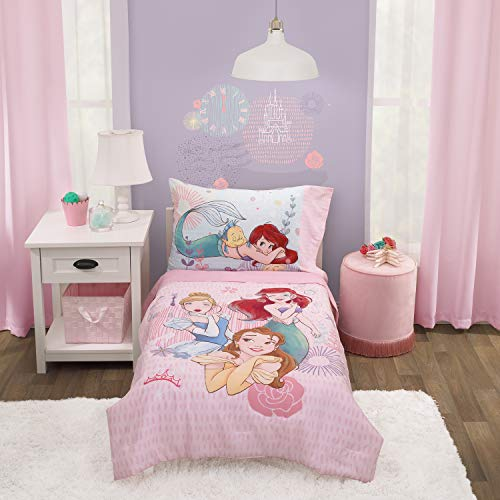 Disney Princess Always Be Bold Pink, Aqua, Blue, Lavender, and Yellow 4-Piece Belle, Ariel and Cinderella Toddler Bed Set - Comforter, Fitted Bottom Sheet, Flat Top Sheet, Reversible Pillowcase