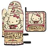 yongxing Hello Kitty - Guantes de horno y agarraderas - Juego de 3 alfombrillas antideslizantes y resistentes al calor - Ideal para la cocina o la barbacoa - Guantes bonitos - Unisex