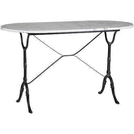 Lolahome Table de Salle à Manger Ovale en marbre et métal Vintage Noir/Blanc 120 x 60 x 71 cm