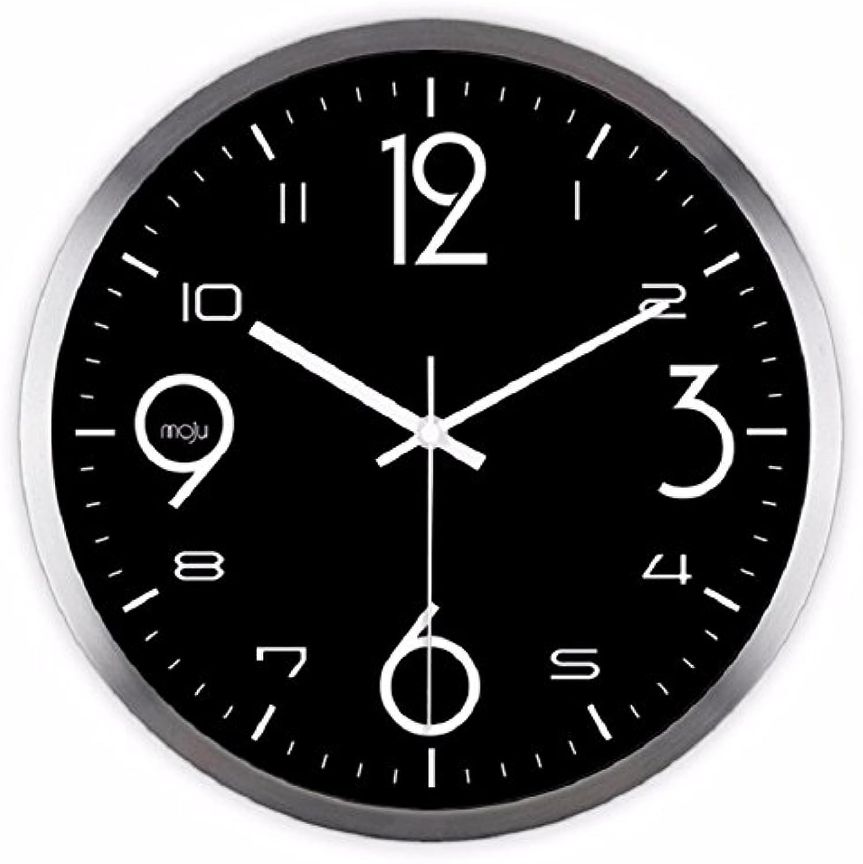 barato y de moda Reloj de parojo,reloj de parojo parojo parojo adhesivo.Creativo reloj de parojo negro hermoso blancoo y negro digital moderno moda sala de estar simple reloj de parojo de cuarzo, 12 pulgadas, plata  precioso
