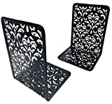 Kirbs' Kollection Bookends, Metal Bookend Supports for Shelves and Desk, Unique Carved Hollow Floral Design, 1 Pair (Black)
