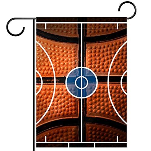 Bandera de jardín, decoración de césped, decoración de patio, decoración de granja al aire libre, banderines de baloncesto negro y naranja