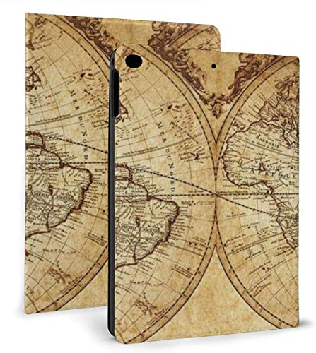 Vintage World Map Case for Ipad Air 1/2 9.7 Inch 2018/2017,Adjustable Stand Auto Wake Or Sleep Smart Case for Ipad 6th Or 5th Gen