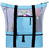Large and Practical Mesh Beach Tote for Women Men, Mesh Beach Bag with Insulated Cooler, Lightweight Waterproof Tote Bags with Zipper for Summer Beach Pool Camping Picnic Gym Sport Travel