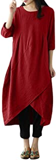Dubocu Women's Plus Size Dress Vintage Long Sleeve Tunic Baggy Maxi Dress