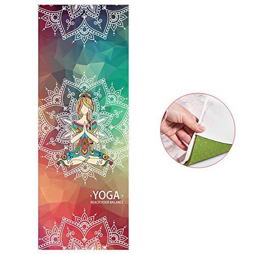 Estera de Yoga 183 * 65Cm Impreso Estera De Yoga Toalla Microfibra Almohadilla Portátil Manta De Yoga Sudor Antideslizante Pilates Mat Cover Gym Fitne