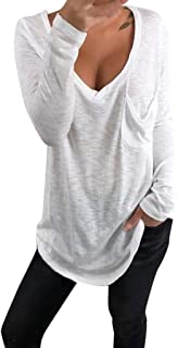 V-Neck Pullover Tops Women's Loose Plus Size Solid Long Sleeve Shirt