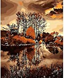 ZXlDXF Adults Children Beginners use Paint by Numbers Kits to DIY Digital Oil Paintings Including Brushes and Paints 4050 inches Home Wall Decoration Crafts Vintage Woods