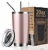 Umite Chef 20oz Tumbler Double Wall Stainless Steel Vacuum Insulated Travel Mug with Lid, Insulated Coffee Cup, 2 Straws, for Home, Outdoor, Office, School, Ice Drink, Hot Beverage(20oz, Rose gold)