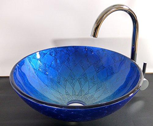 Aufsatz Glas Waschbecken Siena blau 42cm