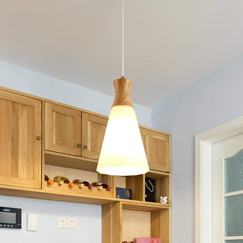 QLIGHA Luminaire Suspendu Moderne en Bois Massif avec Abat-Jour pour Bar de la Table à Manger, Bar, éclairage de Suspension Simple (Ampoule E27 Non Incluse),1head