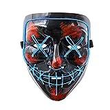 Jiahuade LED Maske DJ Purge Masken mit 3 Blitzmodi für Halloween Maske Fasching Karneval Party...