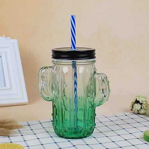 Cactus Cup transparant glas sap drinken stro Cup groen