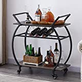 LVB Bar Cart with Wine Rack, 2 Tier Kitchen Coffee Cart on Wheels, Industrial Wood and Metal Portable Liquor Wine Cart Table for Home, Rustic Modern Mobile Rolling Serving Cart with Shelves, Grey Oak