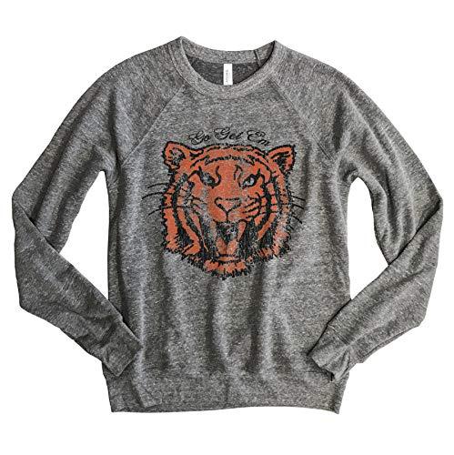 Go Get Em Tiger Retro Style Unisex Raglan Sweatshirt, Unisex Medium Grey