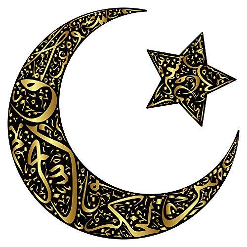 Wandtattoo Orient Wandsticker Mondsichel mit Stern und Verzierungen in gold ori