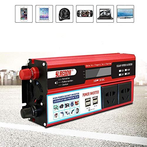 J-Love Inversor de Corriente de 2000 W, convertidor de Voltaje de 12 V/24 V a 220 V/110 V, inversor de Coche de Onda sinusoidal, 2 enchufes, 4 Puertos USB, Esencial para Viajes al Aire Libre