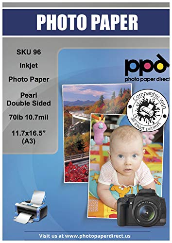 """PPD Inkjet Pearl Double Sided Super Premium Photo Paper A3 (11.7 x 16.5"""" similar to 11x17"""") 76lbs. 290gsm 10.7mil x 50 Sheets (PPD096-50)"""