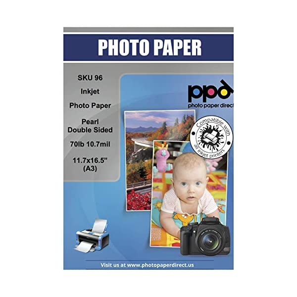 PPD Inkjet Pearl Double Sided Super Premium Photo Paper A3 (11.7 x 16.5″ similar...