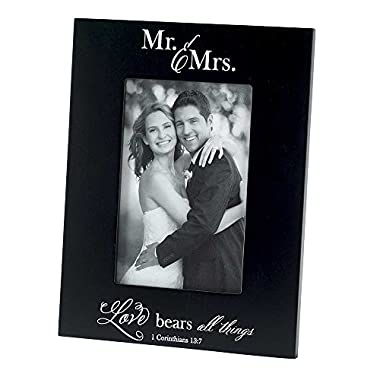 Dicksons Mr. and Mrs. Love Bears All Things 1 Corinthians 13:7 Wood 9 x 7 Photo Frame Plaque
