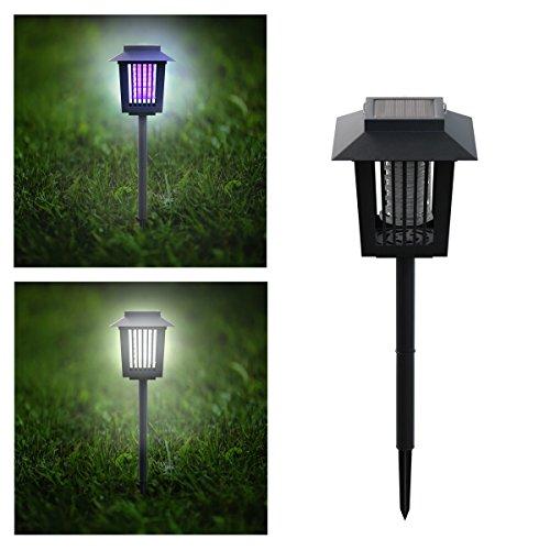Pure Garden 50-173-MOS Solar Power UV Mosquito and Bug Zapper LED Light – Black