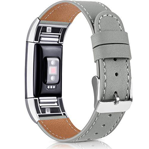 Vancle Kompatibel für Fitbit Charge 2 Armband, Klassisch Echt Lederarmband Ersatzarmband für Fitbit Charge 2 (Grau)