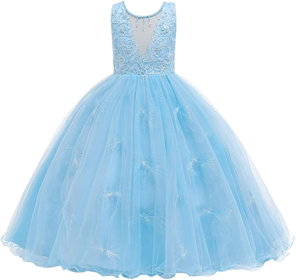 Flower Girls Lace Bridesmaid Dress Kids Wedding Pageant Party Long Prom Formal Ball Gown Princess Puffy Tulle Evening Dress