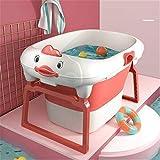 Wegklappbare Badewanne für Babys Babybadewanne mit faltbarem Badhocker, faltbarer Schwimmbad, Enten-förmige Kinderbadewanne, Säugling kann sitzen und hinlegen, Babys über 0-15 Jahre alt Faltbare Badew