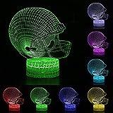 Sleeping Night Light - Control de balón de rugby para Halloween, 3D, ilusión LED, 7 colores cambiantes