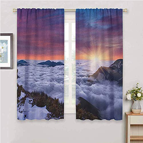Nature Kitchen Curtain, Curtains 63 inch Length Winter Landscape in The Mountains Sunset Majestic Scenes from The World Photo Easy to Clean muave White Brown W55 x L63 Inch