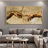 The Creation of Adam By Michelangelo Famous Art Canvas Paintings on The Wall Art Posters and Prints Hand To Hand Art Pictures 35x70 CM (sin marco)