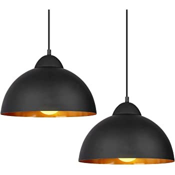 Deckey Plug in Pendant Light with 47inch Cord,2 Pack,Φ30cm,for E27 Bulbs,Industrial Hanging Pendant Lights,Barn Pendant Light,Linear Dome Pendant Lighting,for Dinning Room/Bedroom/Barn/Café(Black)