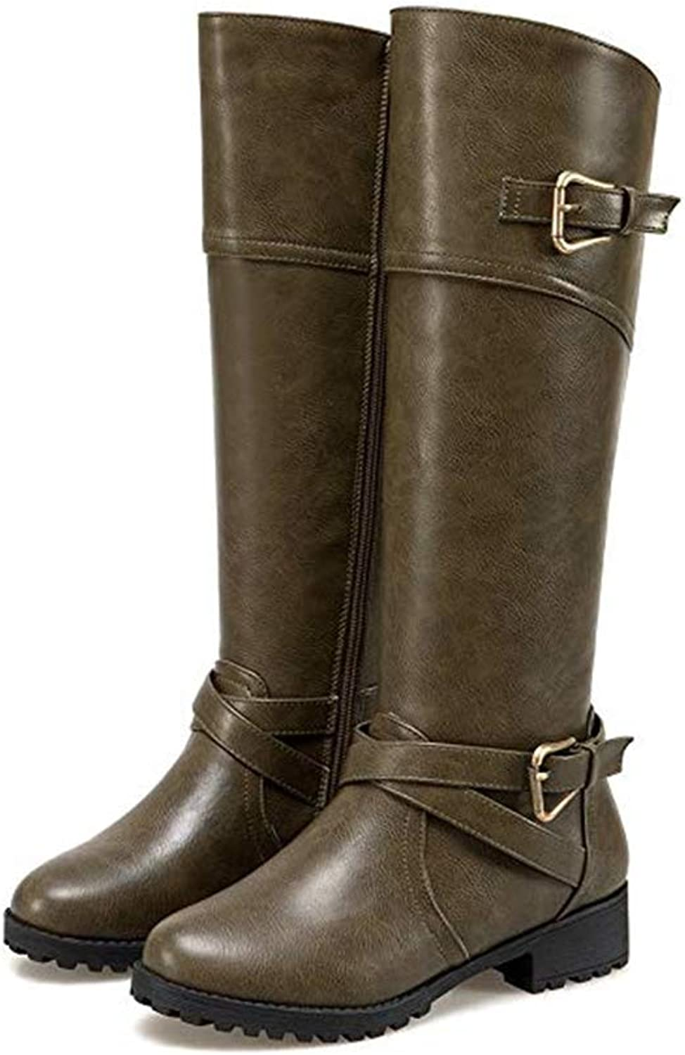 CHENSF Women's Knee High Riding Boots Wide Calf Leather Side Zip Buckle Long Boots