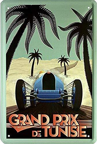 Bilingo Auto Rennen Grand Prix Tunisie 1933 Vintage Metall Blechschild Wandschild Plakat Personalisierbar Family Street Sign 30,5 x 20,3 cm