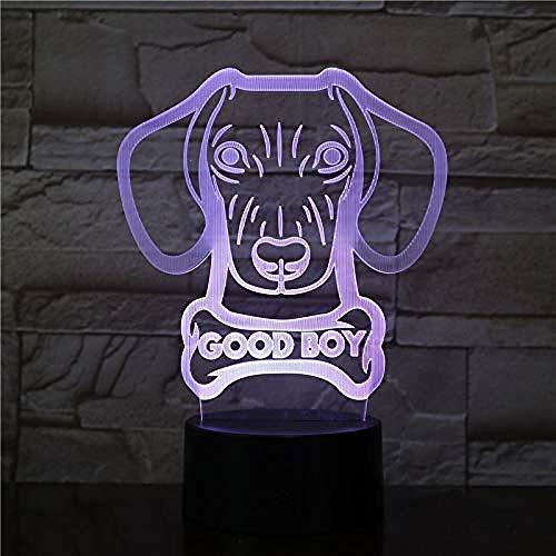 3D Nachtlicht Illusionslampe Dackel Wurst Hundeform Moderne Licht Tischlampe Wiener-Hund Tier Haustier Welpe Guter Junge Benutzerdefinierter Hundename Leuchtende Lampe