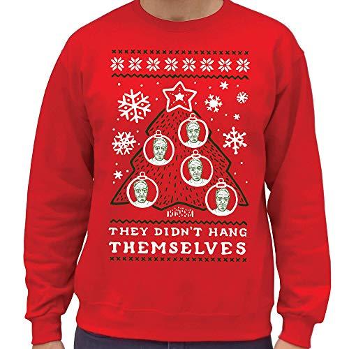 SCOBAR Epstein Ugly Christmas Crewneck Sweatshirt (XL) Red