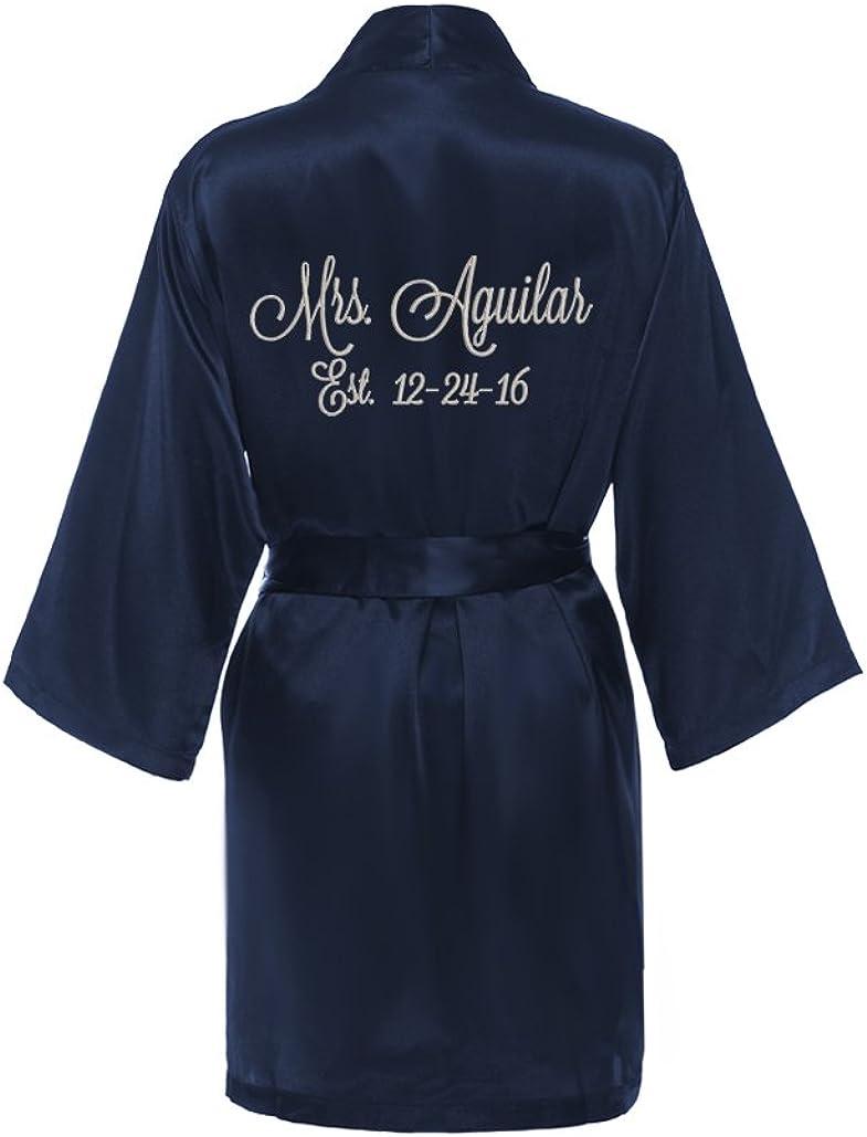 Personalized Mrs. Satin Bridal Robe Navy Br Kimono lowest price Blue - Max 49% OFF