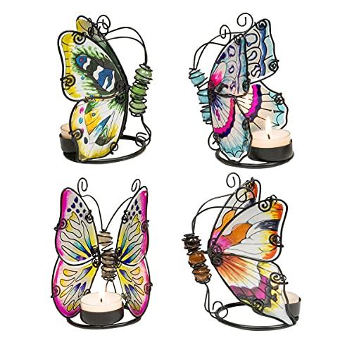 Set de 4 Portavelas Decorativas de Metal y Cristal T-Lite Mariposas. Velas y Candelabros. Decoración Hogar. Animales. Regalos Originales. 10 x 10 x 12 cm