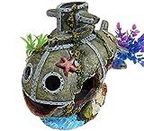 【J's select】水槽用 オブジェ 古代 遺跡 神殿 建物 アクアリウム オーナメント 装飾 城 柱 恐竜 魚 の 隠れ家に (潜水艦)